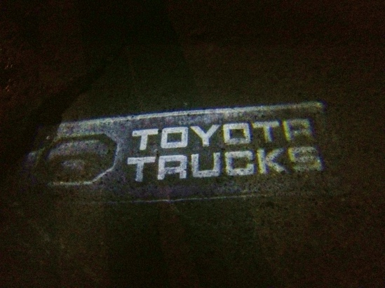"GTR Lighting's ""Toyota Trucks"" door panel logo projector. Looks great on Tundra or Tacoma trucks."