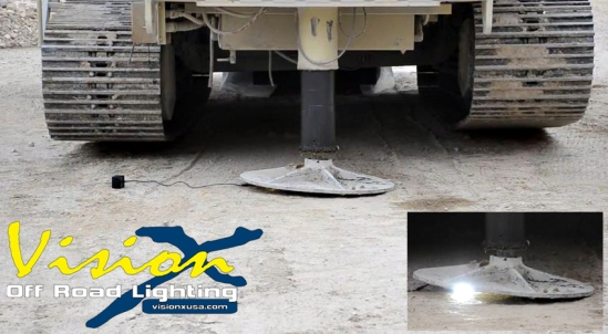 The video shows the led light crushed by the mining truck.