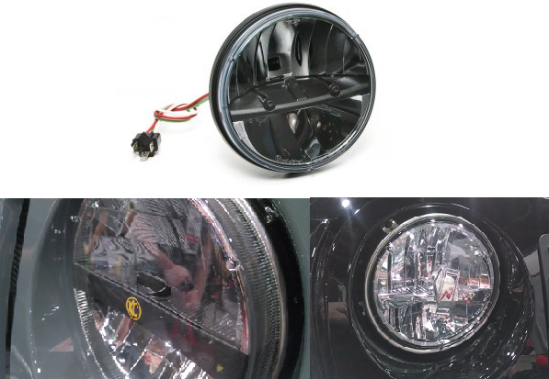 "The original Truck-Lite headlight on top and the 2 new 7"" Round LED copies below it."