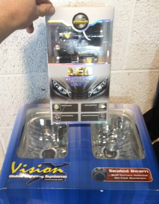 "Here is the product we used. The GTR Lighting H4 style LED headlight conversion kit and the Vision X 5x7"" sealed beam headlight housings."