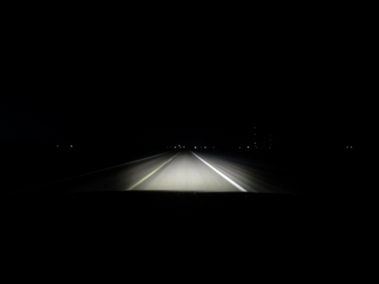 Here you can see the low beam light output of the new headlight system going down the highway. The left to right output is good and the light is where you want it in the middle also. The important thing is that the beam pattern is a pretty good shape without any weird shadows or odd light output shapes.