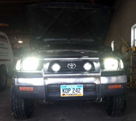 LED Headlight Conversion Kit Installed.