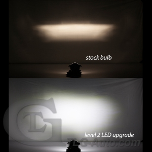 Comparison of stock bulb and GTR Lighting  LED Conversion Kit bulb in a fog light housing