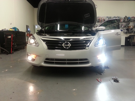 The H11 LED headlight conversion kit from GTR Lighting is plug and play on the new Altima and they are WAY brighter than stock bulbs!