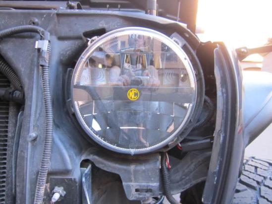 KC HiLiTES 7 inch LED headlight in place