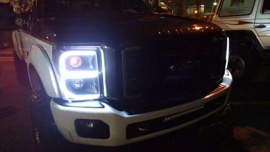 Here are the accent strips lit up. They shine bright white, and blink amber.