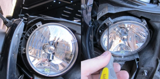unscrewing jeep headlights
